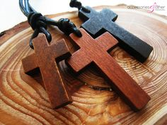 Wooden Cross Necklace Christian jewelry by Accessoriesandother
