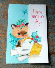Vintage Card Mother's Day Hallmark Siamese Cat by TheBackShak, $3.50