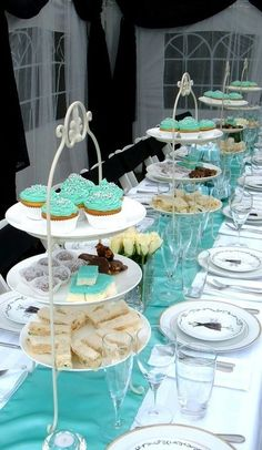 Tiffany's High Tea. Love the tiffany colour and the three plate stack. Simple idea that is so useful, fitting more delicious treats on the table as well as being nice to look at.