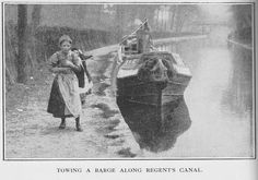towing a barge along Regent's Canal London Pictures, Old Pictures, Old Photos, Canal Barge, Canal Boat, Birmingham Canal, Narrowboat Interiors, Regents Canal, London History