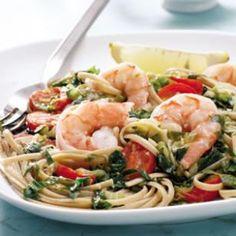 Shrimp linguine menu.  Under 500 calories