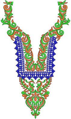 Ladies Fashionable Embroidery Neck Design
