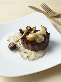 Filet Mignon with Mustard Cream and Wild Mushrooms recipe from Food Network Kitchen via Food Network mushroom recipes Food Network Recipes, Gourmet Recipes, Beef Recipes, Cooking Recipes, Gourmet Desserts, Plated Desserts, Easy Recipes, Gourmet Food Plating, Chef Food