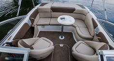 Bayliner 215 BR: Aft, the standard seating is comfortable and not tight, yet it gives a secure feeling to newbies.