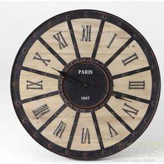 Duży zegar w stylu industrialnym łączący w sobie drewno z metalem