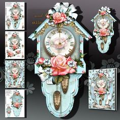 Soft Blue Vintage Wall Clock with Roses on Craftsuprint designed by Atlic Snezana - Soft Blue Vintage Wall Clock with Roses: 4 sheets for print with decoupage for 3D effect plus few sentiment tags (for your own personal text) - Now available for download!
