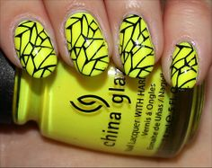 Yellow & black nails #manicure