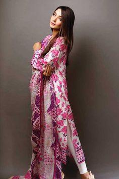 Pink Cotton Lawn Pakistani Suit with Printed - Z2453PVASPL -SILHOUETTE PINK-93