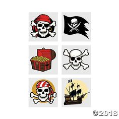 Searching for the right loot for your pirate party? Check out these pirate tattoos, which feature pirate ships lurking on the high seas and plenty of pirate ... Pirate Birthday, Birthday Party Games, Pirate Theme, First Birthday Parties, 10th Birthday, Tatoo Pirate, Pirate Skull, Pirate Party Supplies, Pirate Party Favors