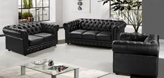 Devolares - Modern Sofa Set in Black Leather