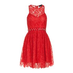 STYLESTALKER Love Me Do Dress ($90) ❤ liked on Polyvore featuring dresses, red, corset dress, floral dress, fit and flare dress, red dress and red sleeveless dress