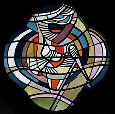 Glasmalerei  Symbol Taube des Heilige Geistes. Wilhelm Schmitz-Steinkrüger, um 1955 Fenster in der Taufkapelle, Antikglas/Blei
