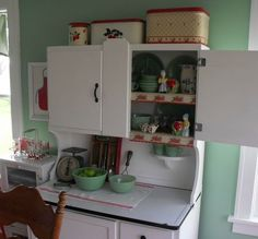 really like mint with red in a vintage kitchen