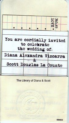 library themed wedding invitation...my reception will be in a library :)