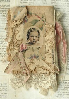MIXED MEDIA FABRIC COLLAGE BOOK OF PORTRAITS OF GIRLS | eBay
