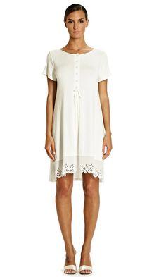 Tata Ivory Jersey Asymmetric Hem Short Sleeve Burn out Frill sz 8 to 20 Pyjamas, Pjs, Jersey Shorts, Italian Style, Nightwear, No Frills, Hemline, Short Sleeves, Ivory