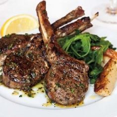 Grilled lamb chops with a garlic, lemon, and herb dressing