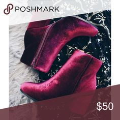 Ankle Velvet Booties True to size  Ankle Bootie Velvet bootie Zipper Closure CUSTOMER FIT FAVORITE Shoes Ankle Boots & Booties
