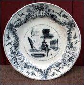 Assiette rébus Dureault et Motte DM & Cie à Grigny, 1855-82