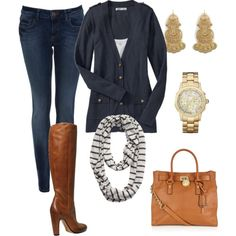 I could create this outfit with clothes I already have. Good idea for fall and winter!