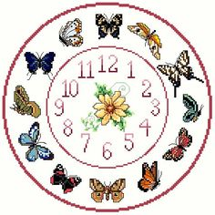 Butterfly Cross stitch Clock Chart / Pattern by IpeksGemBoxUK