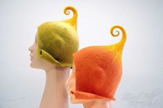 Good mood hats for gnomes/ Handfelted, made of Merino wool, women size MADE TO ORDER. $36.00, via Etsy.