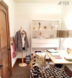 @Shelley Parker Herke Parker Herke Parker Herke Bragg Smith used the IKEA FJÄLKINGE shelf combination in the remodel of her new home office space.   The clean open shelving is great for unique displays.