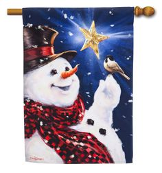 Be Merry Snowman House Flag - Evergreen