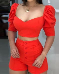 Square Neck Puff Sleeve Top & Short sets Weafall fashion 2019 trends Tights,fall fashion trends New,fall fashion trends Ralph Lauren,fall fashion trends Trend Fashion, Fashion Tips, Womens Fashion, Fashion Fashion, Fashion Ideas, Trendy Outfits, Cute Outfits, Chor, Mode Style
