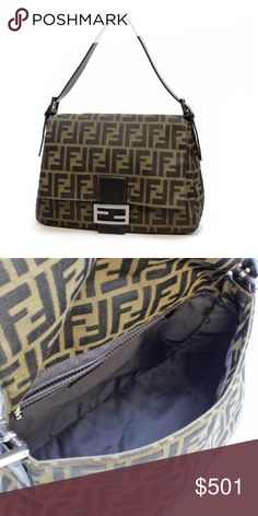Fendi Bag Vintage Fendi Designer Handbags. Fendi Zucca Brown Black Canvas Twill Mama Baguette 8BR001. The famous Fendi Mama Baguette measures about 11.5 W x 8.5 H x 4.75 inches deep. The single leather adjustable shoulder strap measures about 22 inches long. Made in Italy. The interior is lined with Fendi signature twill cloth. There's one inside zippered pocket. The front closes with a large flap and a magnetic snap. The Zucca color is brown and black canvas with dark brown smooth leather…