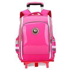 f38b3fca0224 2016 New Solid Trolley School Bags for Children PU Laeather waterproof  Backpack Bohemian Style Pattern Side Pockets Mochila-in School Bags from  Luggage ...