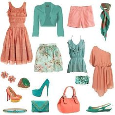 But not the salmon color Turquesa Coral, Diy Fashion, Fashion Outfits, Colourful Outfits, Green Outfits, Salmon Color, Capsule Wardrobe, Passion For Fashion, Tela