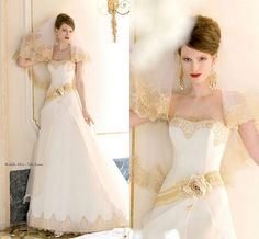 Lace Gold And White Color Custom 2015 Wedding Dresses Strapless Neck Handmade Flower Waist Corest Back Bridal Gowns A Line Amazing New #dhgatePin