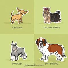 Pack de razas de perro dibujadas a mano