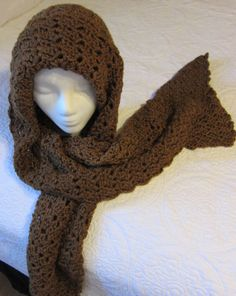 Crochet Hooded Scarf/Chestnut Brown by Kitkateden on Etsy, $22.00