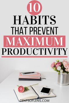 Do you struggle with being productive? Do you want to know how you can get more done in less time? Find out which 10 habits prevent you from achieving maximum productivity and become more productive today! Things To Do When Bored, Getting Things Done, Becoming A Better You, How To Become, Study Schedule, College Survival, Time Management Skills, Self Discipline, Life Choices