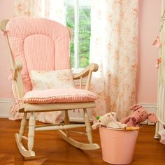Totally doing this to my new/old glider I was given! Except maybe not pink stripes.. Shabby Chic Rocking Chair, Rocking Chair Covers, Rocking Chair Nursery, Wooden Rocking Chairs, Rocking Chair Cushions, Nursery Rocker, Seat Cushions, Nursery Furniture, Shabby Chic Furniture