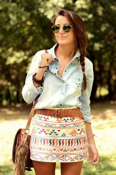 We love Aztec prints! This look would be perfect with dusty brown, short cowboy boots.