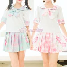 S/M/L Pink/Blue Pastel Sakura Cherry Blossom Seifuku Top/Skirt/Set SP140833