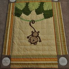 Custom Hanging Around Jungle Monkey Baby/Infant/Child Quilt/Wall Hanging