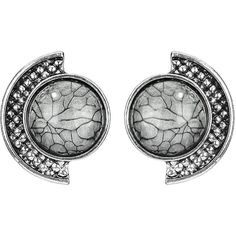 Yoins Grey Semi-circle Stud Earrings ($10) ❤ liked on Polyvore featuring jewelry, earrings, yoins, accessories, grey, gray earrings, earring jewelry, stud earrings, gray jewelry and grey earrings