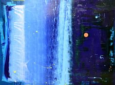 The Right Blue Moonlight at Night with Little Red Blob Painting by Anthony Hunter