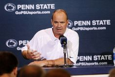 PENN STATE – FOOTBALL 2013 – Penn State football coach Bill O'Brien addresses reporters during the Nittany Lions' 2013 media day.