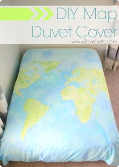DIY painted world map duvet cover - full tutorial to make your own.  Such an inexpensive way to get one-of-a-kind bedding.