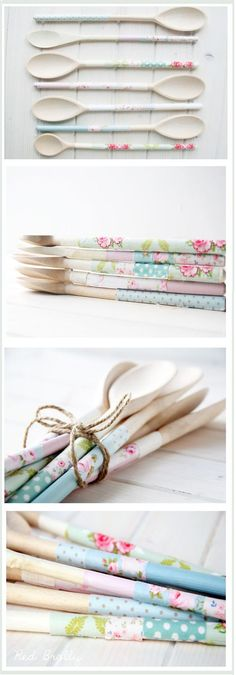 Upcycle:: Old wooden spoons into pretty ones Would make a great gift!  Housewarming maybe?