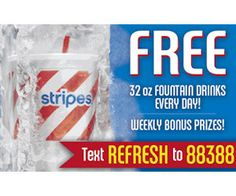 Free Stripes Fountain Drink Every Day (Text) - http://freebiefresh.com/free-stripes-fountain-drink-every-day-text/