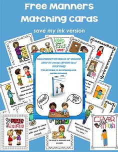 Free Printable Manners Matching Cards for matching and concentration games - a free printable to accompany Montessori at Home or School: How to Teach Grace and Courtesy (2 versions of cards available - blue version and save-my-ink version with colored images on a white background)---this is my freebie on the Living Montessori Now blog