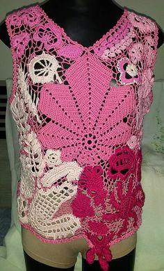 Blusa rosa em crochê irlandês (frente)