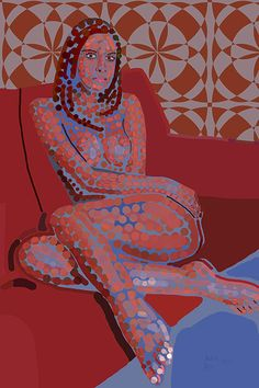 Andrea Mora title: The Red Couch (2013) original size: 80 x 120 cm digital painting