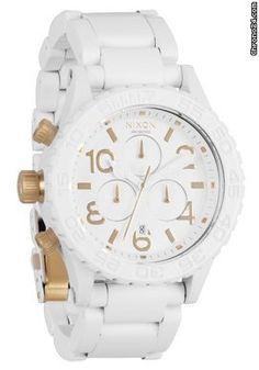 Nixon The 42 20 Chrono All White/Gold ladies´ chronograph $714 #watch #watches white bracelet